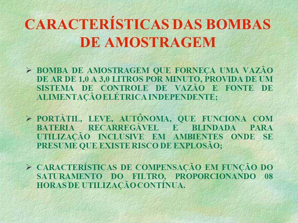 CARACTERÍSTICAS DAS BOMBAS DE AMOSTRAGEM BOMBA DE AMOSTRAGEM QUE FORNEÇA UMA VAZÃO DE AR DE 1,0 A 3,0 LITROS POR MINUTO, PROVIDA DE UM SISTEMA DE CONTROLE DE VAZÃO E FONTE DE ALIMENTAÇÃO ELÉTRICA INDEPENDENTE; PORTÁTIL, LEVE, AUTÔNOMA, QUE FUNCIONA COM BATERIA RECARREGÁVEL E BLINDADA PARA UTILIZAÇÃO INCLUSIVE EM AMBIENTES ONDE SE PRESUME QUE EXISTE RISCO DE EXPLOSÃO; CARACTERÍSTICAS DE COMPENSAÇÃO EM FUNÇÃO DO SATURAMENTO DO FILTRO, PROPORCIONANDO 08 HORAS DE UTILIZAÇÃO CONTÍNUA.