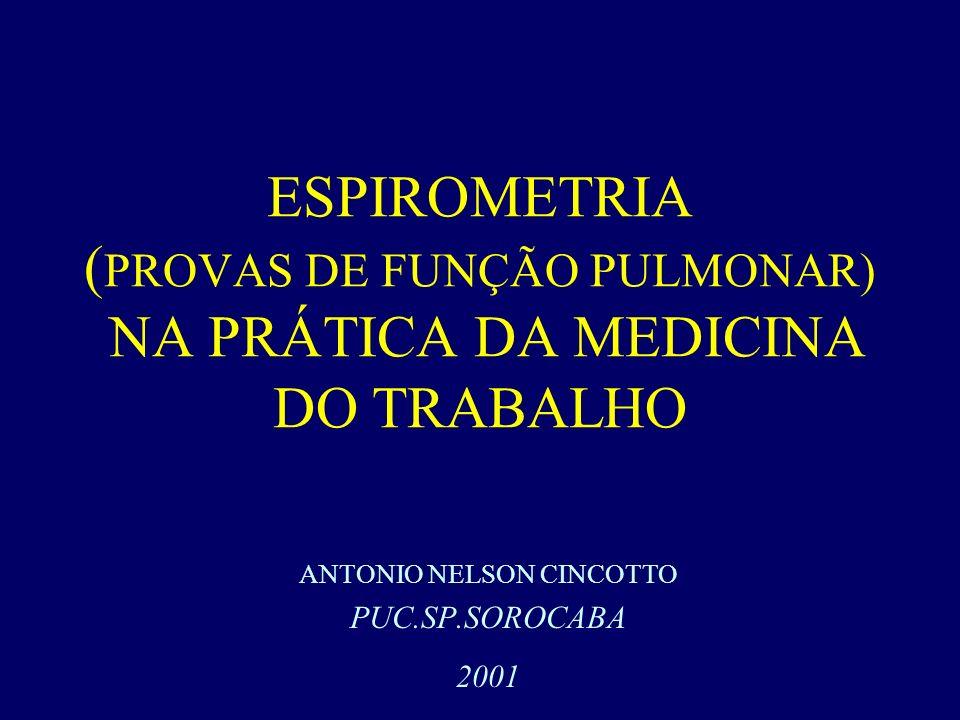 ESPIROMETRIA ( PROVAS DE FUNÇÃO PULMONAR) NA PRÁTICA DA MEDICINA DO TRABALHO ANTONIO NELSON CINCOTTO PUC.SP.SOROCABA 2001