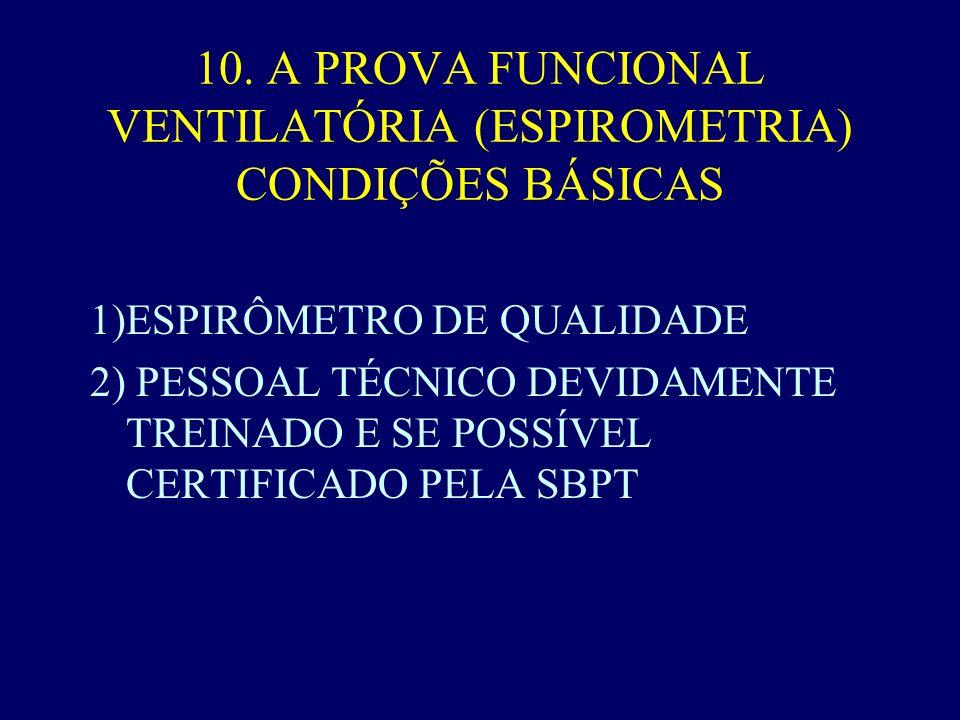10. A PROVA FUNCIONAL VENTILATÓRIA (ESPIROMETRIA) CONDIÇÕES BÁSICAS 1)ESPIRÔMETRO DE QUALIDADE 2) PESSOAL TÉCNICO DEVIDAMENTE TREINADO E SE POSSÍVEL C