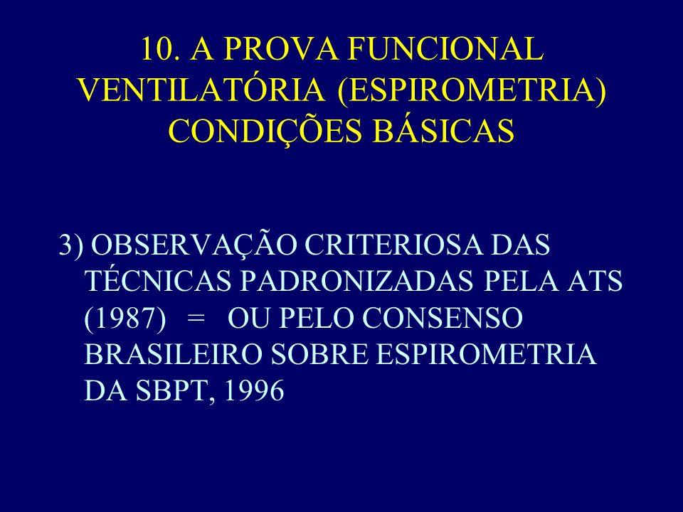 10. A PROVA FUNCIONAL VENTILATÓRIA (ESPIROMETRIA) CONDIÇÕES BÁSICAS 3) OBSERVAÇÃO CRITERIOSA DAS TÉCNICAS PADRONIZADAS PELA ATS (1987) = OU PELO CONSE