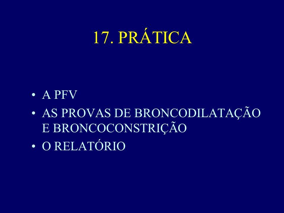 17. PRÁTICA A PFV AS PROVAS DE BRONCODILATAÇÃO E BRONCOCONSTRIÇÃO O RELATÓRIO