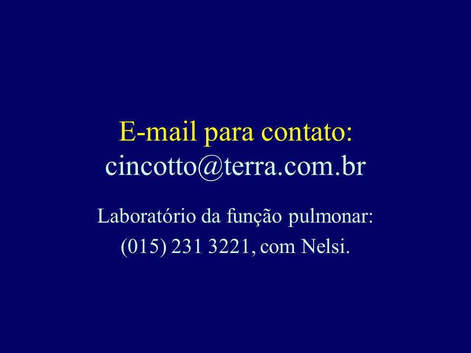 E-mail para contato: cincotto@terra.com.br Laboratório da função pulmonar: (015) 231 3221, com Nelsi.