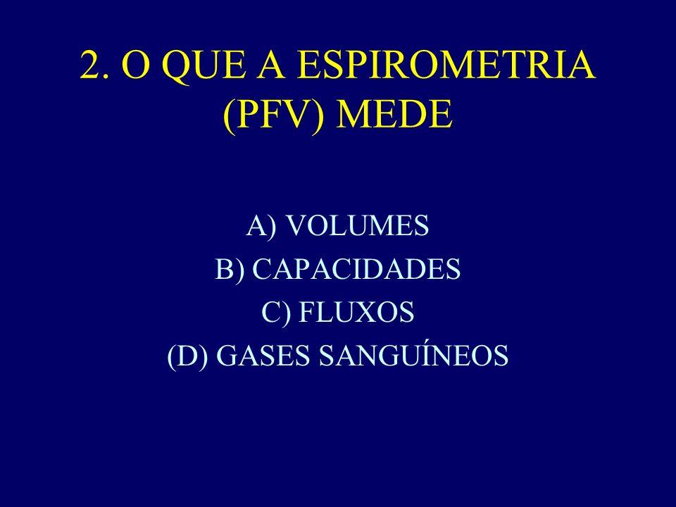 2. O QUE A ESPIROMETRIA (PFV) MEDE A) VOLUMES B) CAPACIDADES C) FLUXOS (D) GASES SANGUÍNEOS