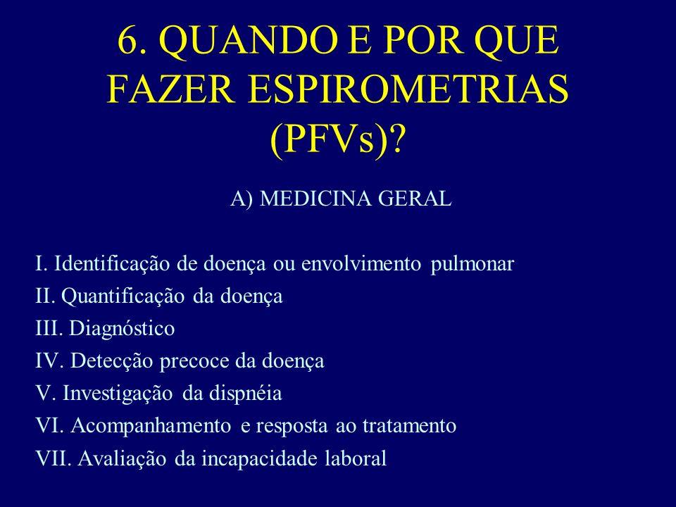 6.QUANDO E POR QUE FAZER ESPIROMETRIAS (PFVs). A) MEDICINA GERAL I.