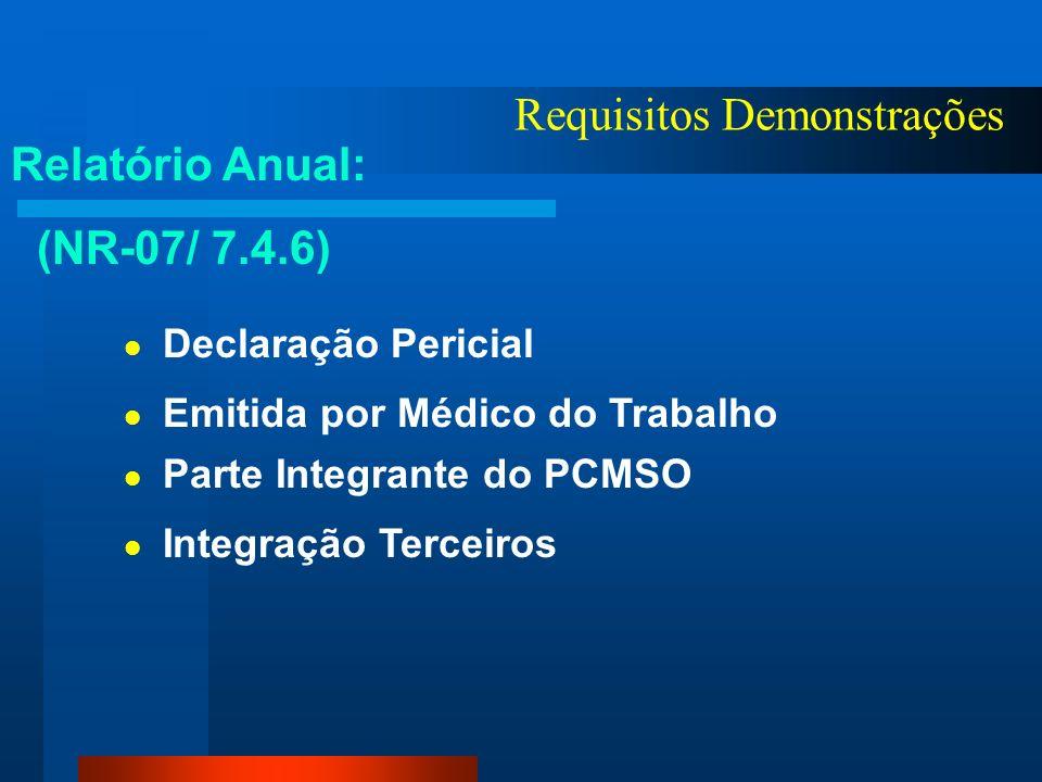 Requisitos Demonstrações PCMSO: (NR-07) Visão Individual e Coletiva Instrumental Clínico - Epidemiológico Prevenção, Rastreamento e Diagnóstico Precoc