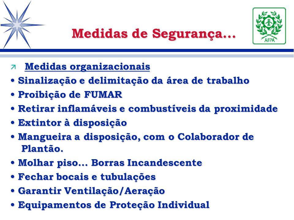 ä Medidas organizacionais Sinalização e delimitação da área de trabalho Sinalização e delimitação da área de trabalho Proibição de FUMAR Proibição de