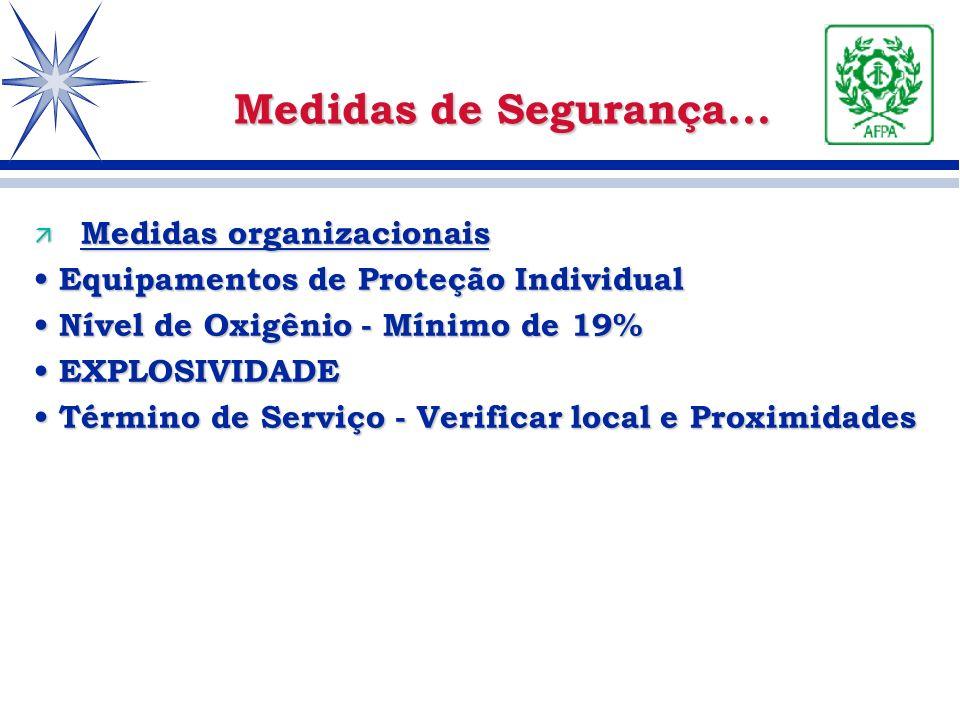 ä Medidas organizacionais Equipamentos de Proteção Individual Equipamentos de Proteção Individual Nível de Oxigênio - Mínimo de 19% Nível de Oxigênio