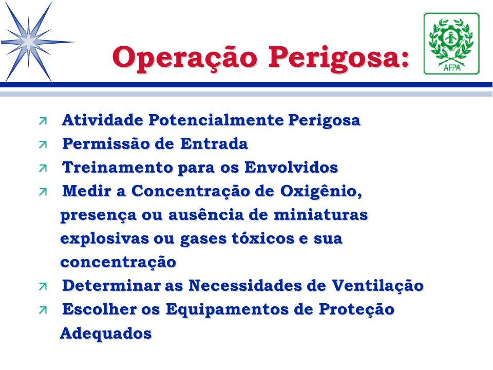 Operação Perigosa: ä Atividade Potencialmente Perigosa ä Permissão de Entrada ä Treinamento para os Envolvidos ä Medir a Concentração de Oxigênio, pre