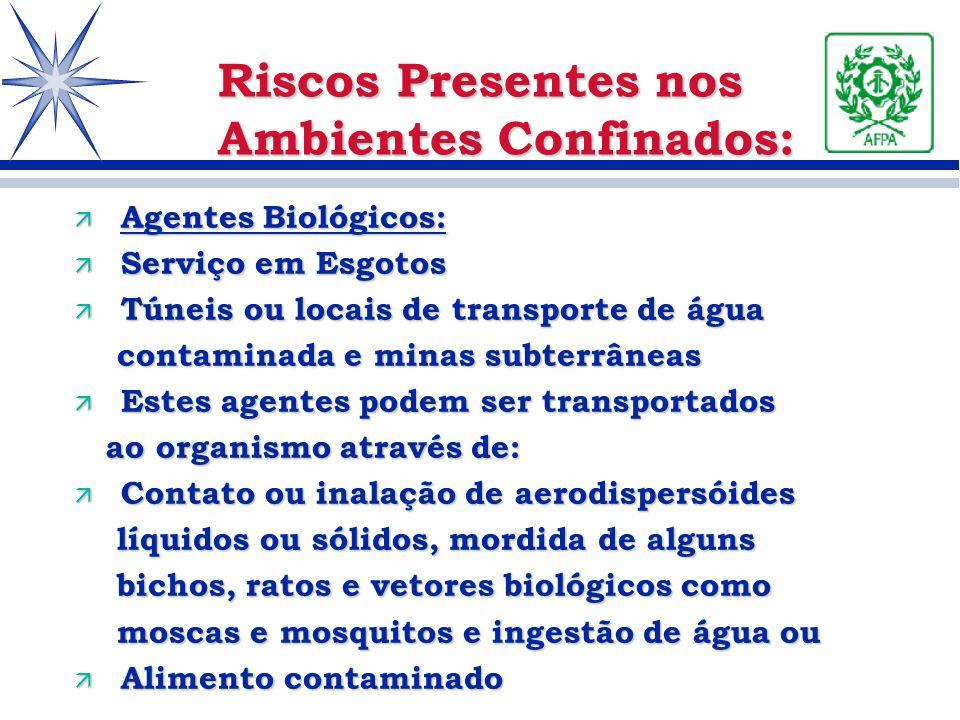 ä Agentes Biológicos: ä Serviço em Esgotos ä Túneis ou locais de transporte de água contaminada e minas subterrâneas contaminada e minas subterrâneas