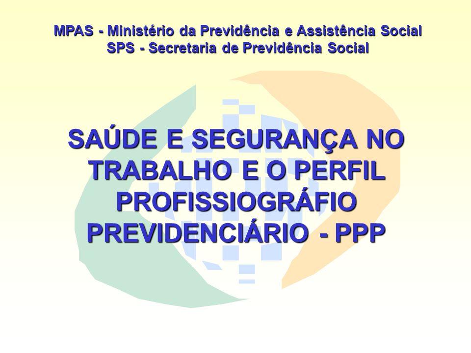 MPAS - Ministério da Previdência e Assistência Social SPS - Secretaria de Previdência Social SAÚDE E SEGURANÇA NO TRABALHO E O PERFIL PROFISSIOGRÁFIO