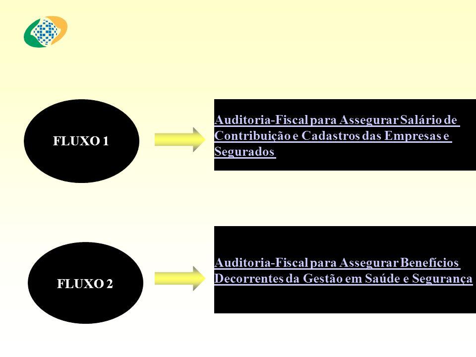 FLUXO 1 FLUXO 2 Auditoria-Fiscal para Assegurar Benefícios Decorrentes da Gestão em Saúde e Segurança Auditoria-Fiscal para Assegurar Salário de Contr
