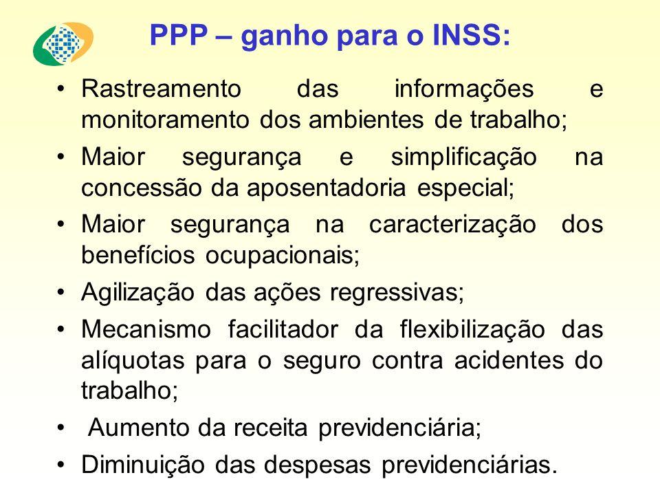 PPP – ganho para o INSS: Rastreamento das informações e monitoramento dos ambientes de trabalho; Maior segurança e simplificação na concessão da apose