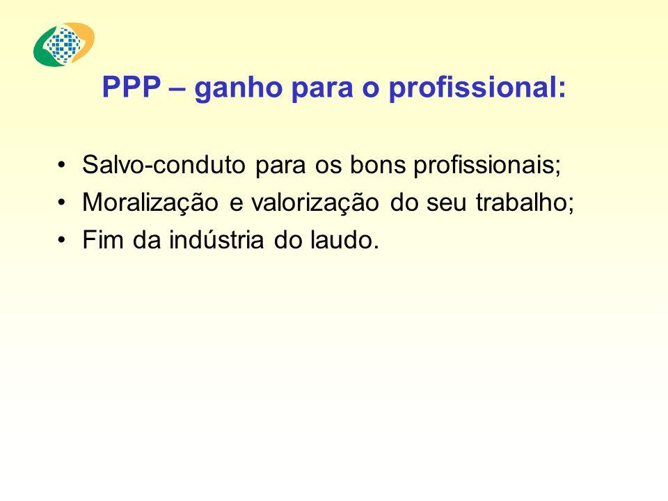 PPP – ganho para o profissional: Salvo-conduto para os bons profissionais; Moralização e valorização do seu trabalho; Fim da indústria do laudo.