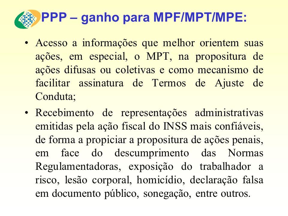 PPP – ganho para MPF/MPT/MPE: Acesso a informações que melhor orientem suas ações, em especial, o MPT, na propositura de ações difusas ou coletivas e