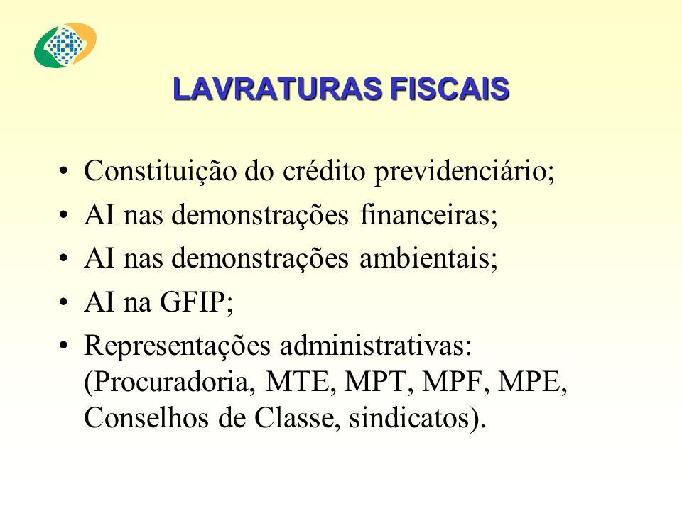 LAVRATURAS FISCAIS Constituição do crédito previdenciário; AI nas demonstrações financeiras; AI nas demonstrações ambientais; AI na GFIP; Representaçõ
