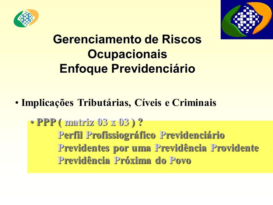 Gerenciamento de Riscos Ocupacionais Enfoque Previdenciário PPP ( matriz 03 x 03 ) ? PPP ( matriz 03 x 03 ) ? Perfil Profissiográfico Previdenciário P