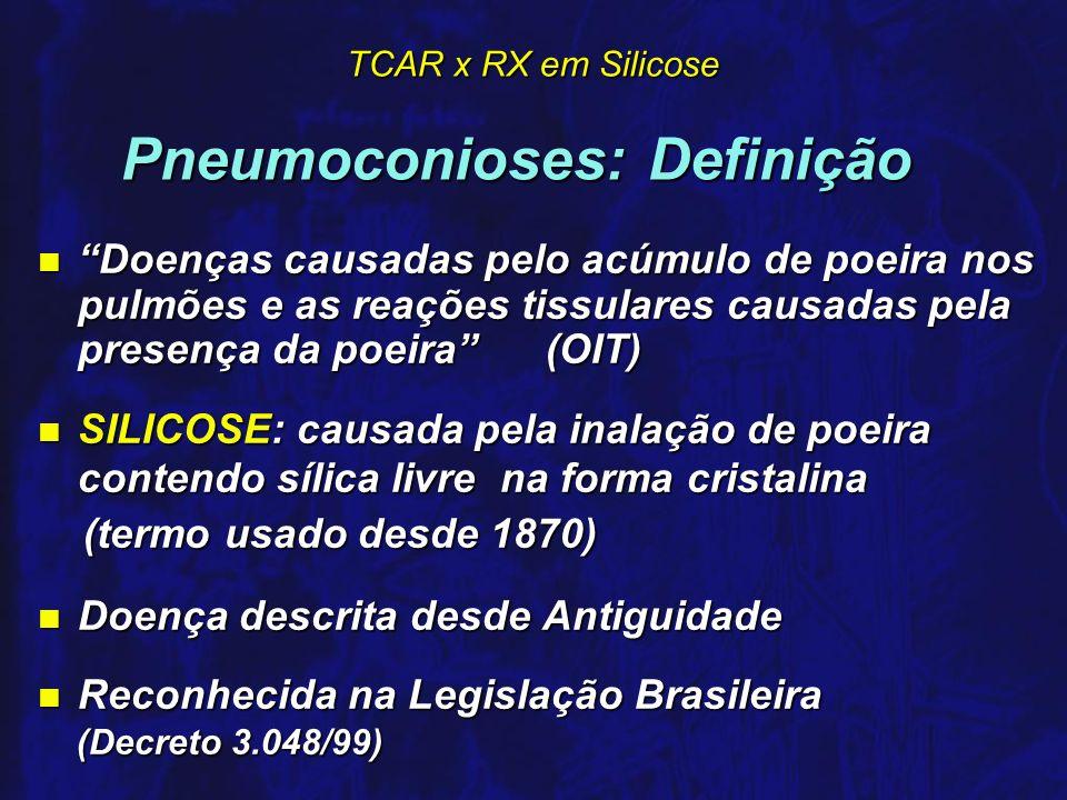 TCAR x RX em Silicose Silicose: Diagnóstico n Diagnóstico é Radiológico- padrões da OIT- associado a história clínica e ocupacional compatíveis n RX - técnica padronizada e laudo por método comparativo com coleção de modelos radiológicos da OIT n A profusão dos micronódulos varia em 12 subcategorias ordenáveis em ordem crescente: 0/-, 0/0, 0/1, 1/0, 1/1, 1/2, 2/1, 2/2, 2/3, 3/2, 3/3, 3/+