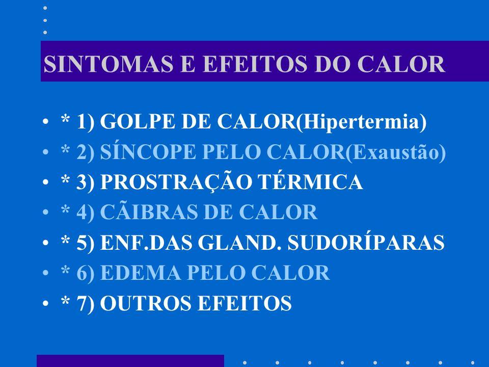 SINTOMAS E EFEITOS DO CALOR * 1) GOLPE DE CALOR(Hipertermia) * 2) SÍNCOPE PELO CALOR(Exaustão) * 3) PROSTRAÇÃO TÉRMICA * 4) CÃIBRAS DE CALOR * 5) ENF.