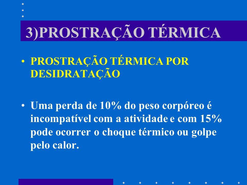 3)PROSTRAÇÃO TÉRMICA PROSTRAÇÃO TÉRMICA POR DESIDRATAÇÃO Uma perda de 10% do peso corpóreo é incompatível com a atividade e com 15% pode ocorrer o cho