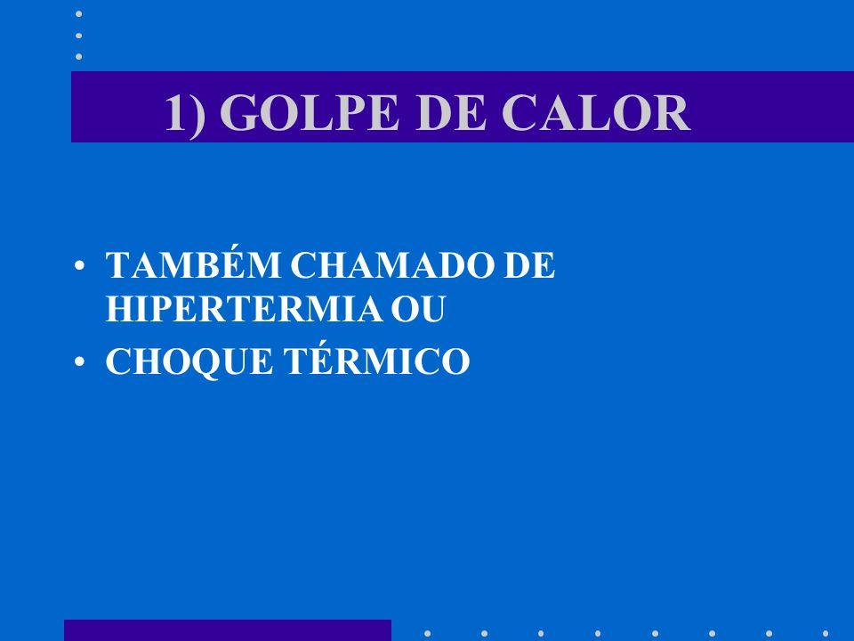 1) GOLPE DE CALOR TAMBÉM CHAMADO DE HIPERTERMIA OU CHOQUE TÉRMICO