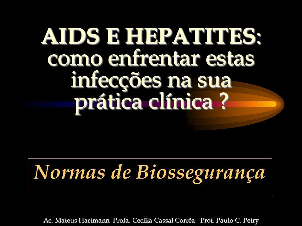 TRANSMISSÃO OCUPACIONAL NA PRÁTICA ODONTOLÓGICA 3 3 HEPATITE B > risco de contaminação 3 HERPES > freqüência 3 AIDS pequeno risco ocupacional maior mobilização para adoção de medidas universais de biossegurança Ac.