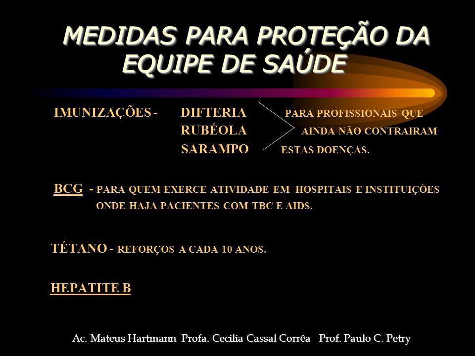 MEDIDAS PARA PROTEÇÃO DA EQUIPE DE SAÚDE MEDIDAS PARA PROTEÇÃO DA EQUIPE DE SAÚDE IMUNIZAÇÕES - DIFTERIA PARA PROFISSIONAIS QUE RUBÉOLA AINDA NÃO CONTRAIRAM SARAMPO ESTAS DOENÇAS.
