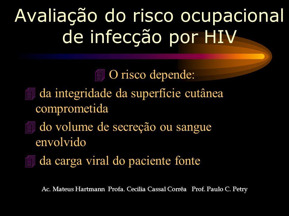 Avaliação do risco ocupacional de infecção por HIV 4 O risco depende: 4 da integridade da superfície cutânea comprometida 4 do volume de secreção ou sangue envolvido 4 da carga viral do paciente fonte Ac.