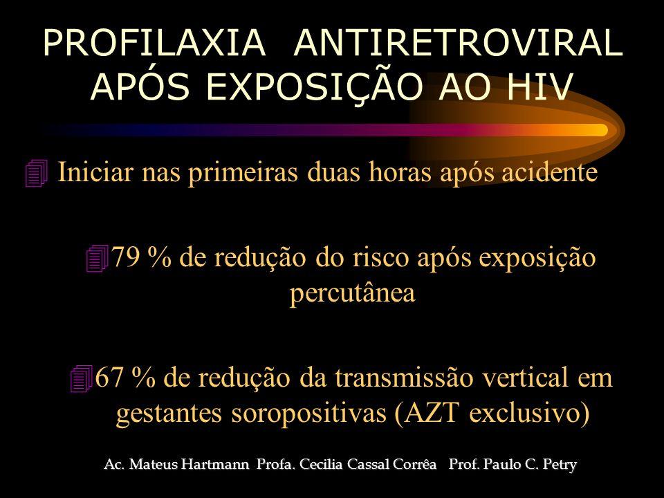 PROFILAXIA ANTIRETROVIRAL APÓS EXPOSIÇÃO AO HIV 4 Iniciar nas primeiras duas horas após acidente 479 % de redução do risco após exposição percutânea 467 % de redução da transmissão vertical em gestantes soropositivas (AZT exclusivo) Ac.
