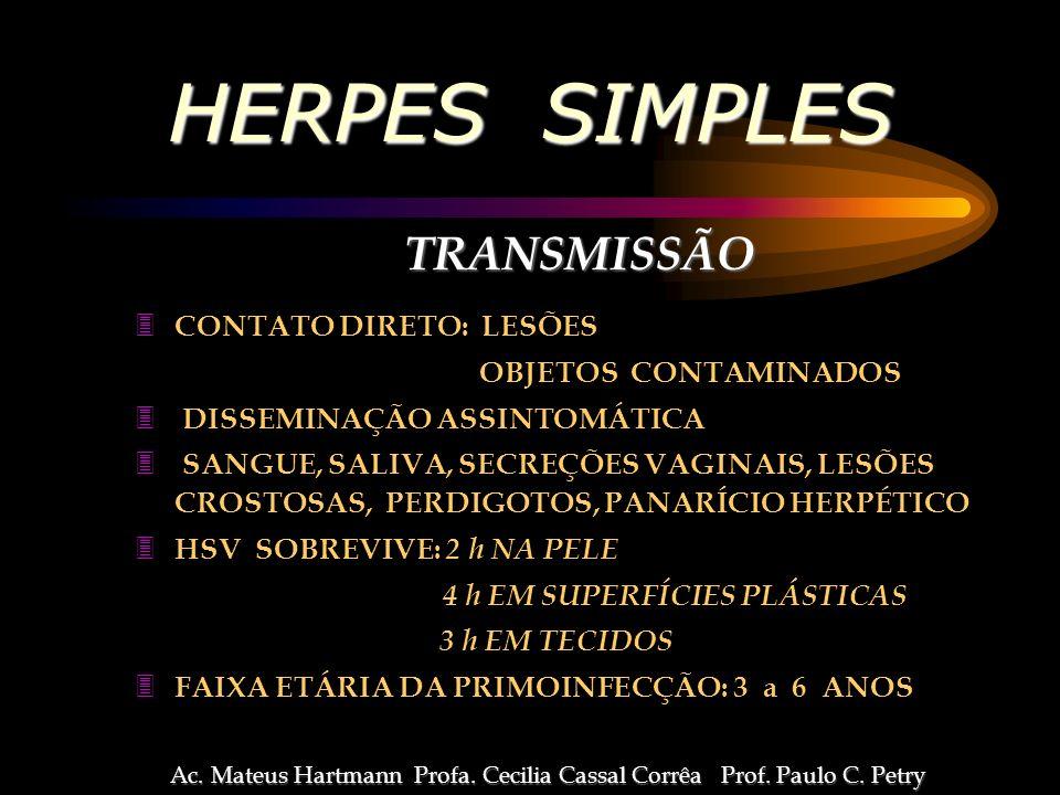 HERPES SIMPLES TRANSMISSÃO TRANSMISSÃO 3 CONTATO DIRETO: LESÕES OBJETOS CONTAMINADOS 3 DISSEMINAÇÃO ASSINTOMÁTICA 3 SANGUE, SALIVA, SECREÇÕES VAGINAIS, LESÕES CROSTOSAS, PERDIGOTOS, PANARÍCIO HERPÉTICO 3 HSV SOBREVIVE: 2 h NA PELE 4 h EM SUPERFÍCIES PLÁSTICAS 3 h EM TECIDOS 3 FAIXA ETÁRIA DA PRIMOINFECÇÃO: 3 a 6 ANOS Ac.