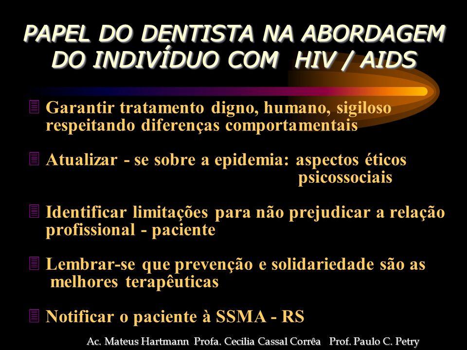 DO HIV MANIFESTAÇÕES BUCAIS DO HIV Ac.Mateus Hartmann Profa.