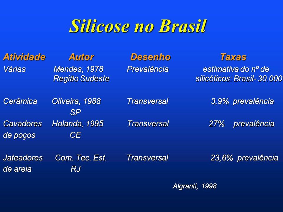 Silicose no Brasil Atividade Autor Desenho Taxas Várias Mendes, 1978 Prevalência estimativa do nº de Região Sudeste silicóticos: Brasil- 30.000 Cerâmi