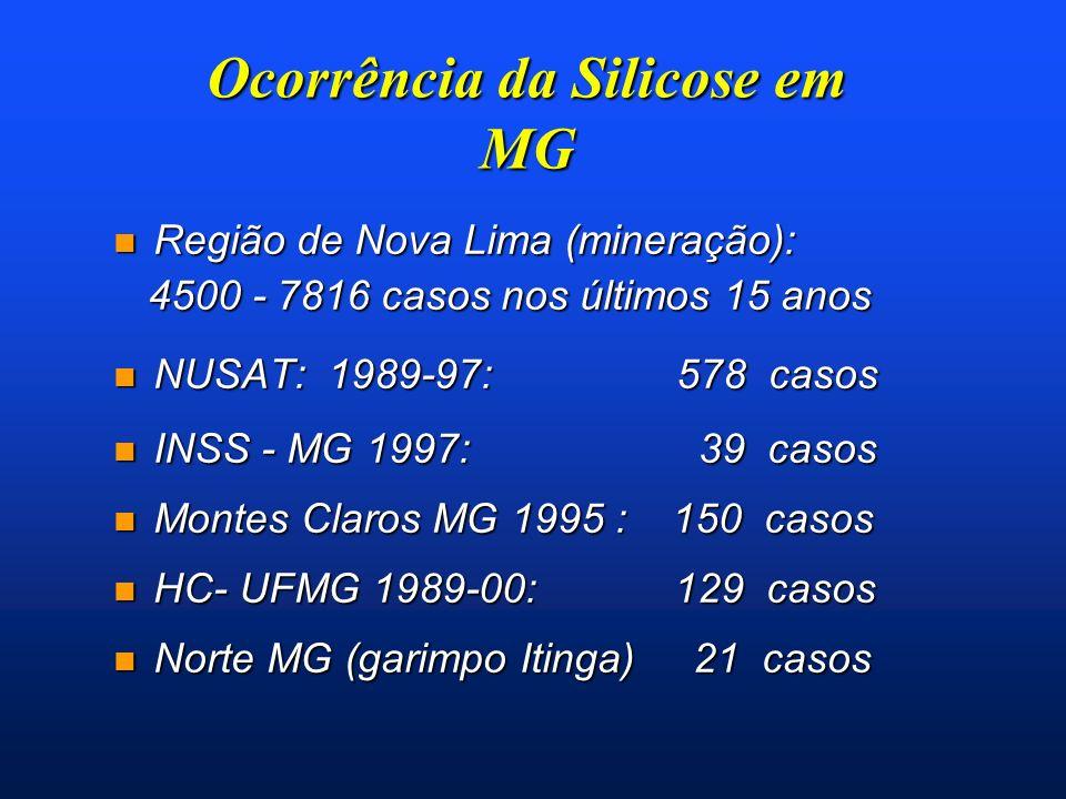 Ocorrência da Silicose em MG n Região de Nova Lima (mineração): 4500 - 7816 casos nos últimos 15 anos 4500 - 7816 casos nos últimos 15 anos n NUSAT: 1