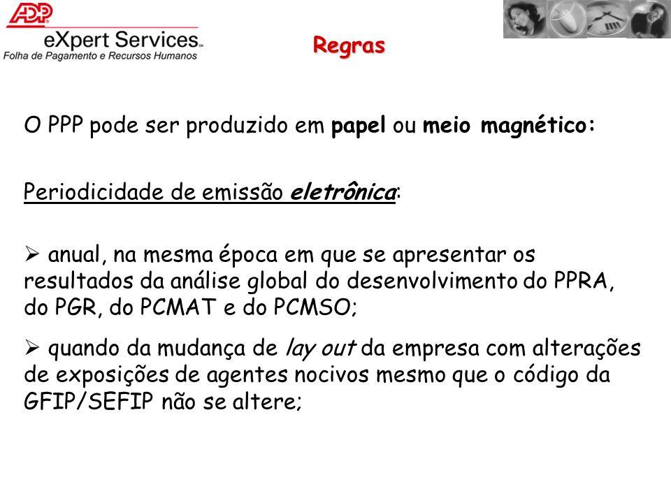 Regras O PPP pode ser produzido em papel ou meio magnético: Periodicidade de emissão eletrônica: anual, na mesma época em que se apresentar os resulta