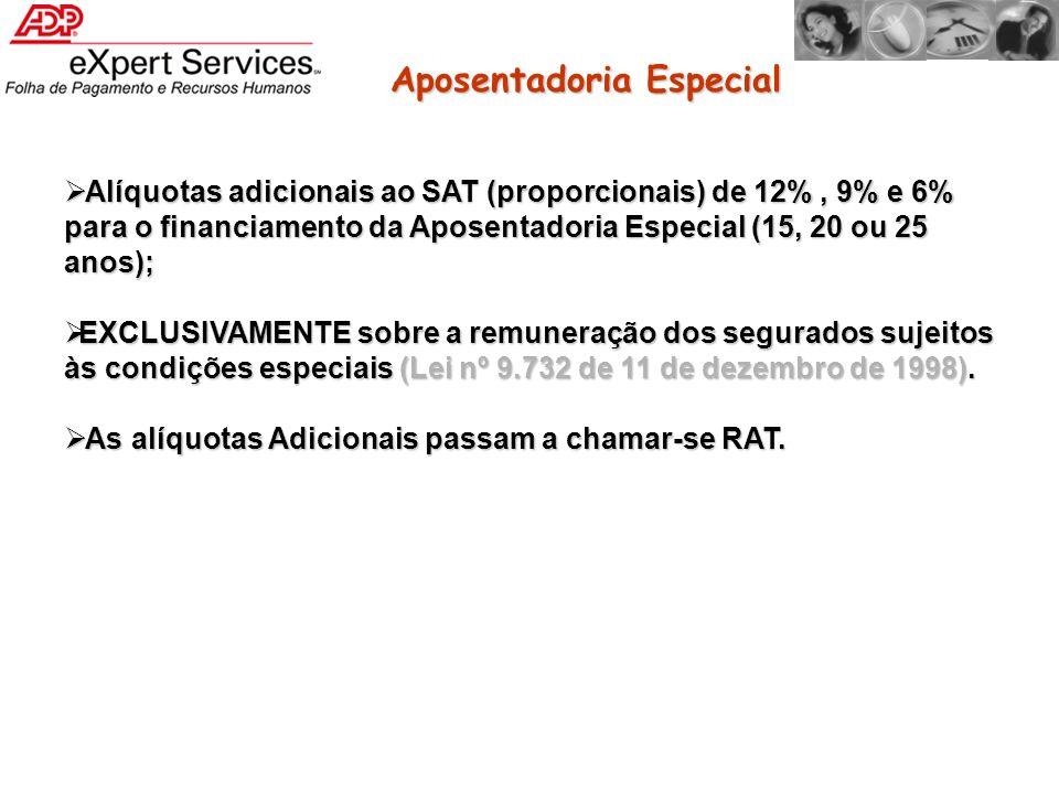 Alíquotas adicionais ao SAT (proporcionais) de 12%, 9% e 6% para o financiamento da Aposentadoria Especial (15, 20 ou 25 anos); Alíquotas adicionais a