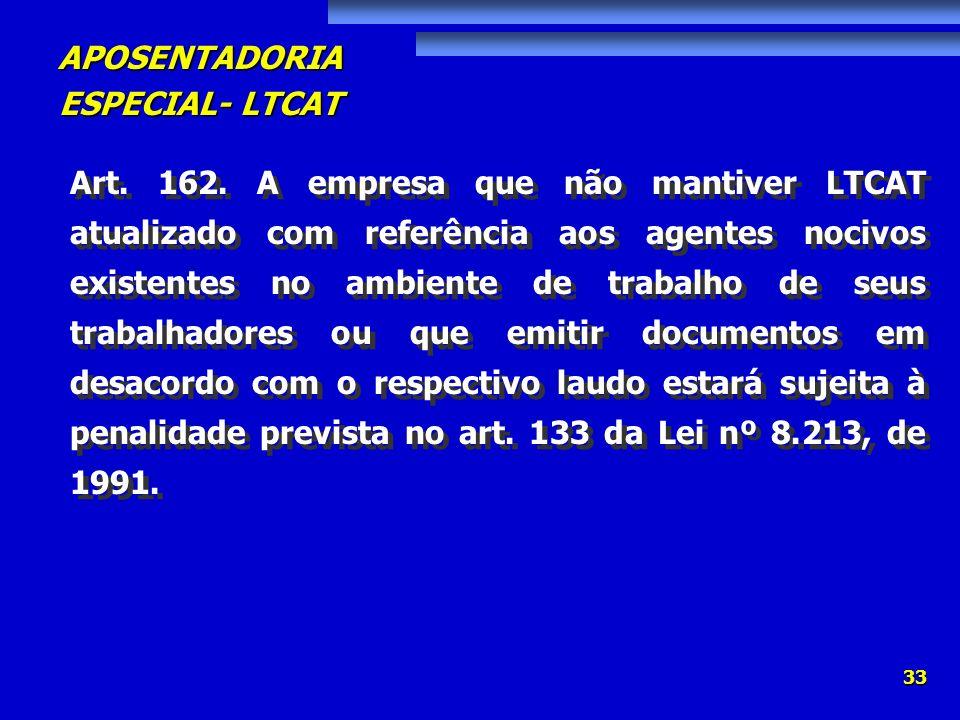 APOSENTADORIA ESPECIAL- LTCAT 33 Art. 162. A empresa que não mantiver LTCAT atualizado com referência aos agentes nocivos existentes no ambiente de tr