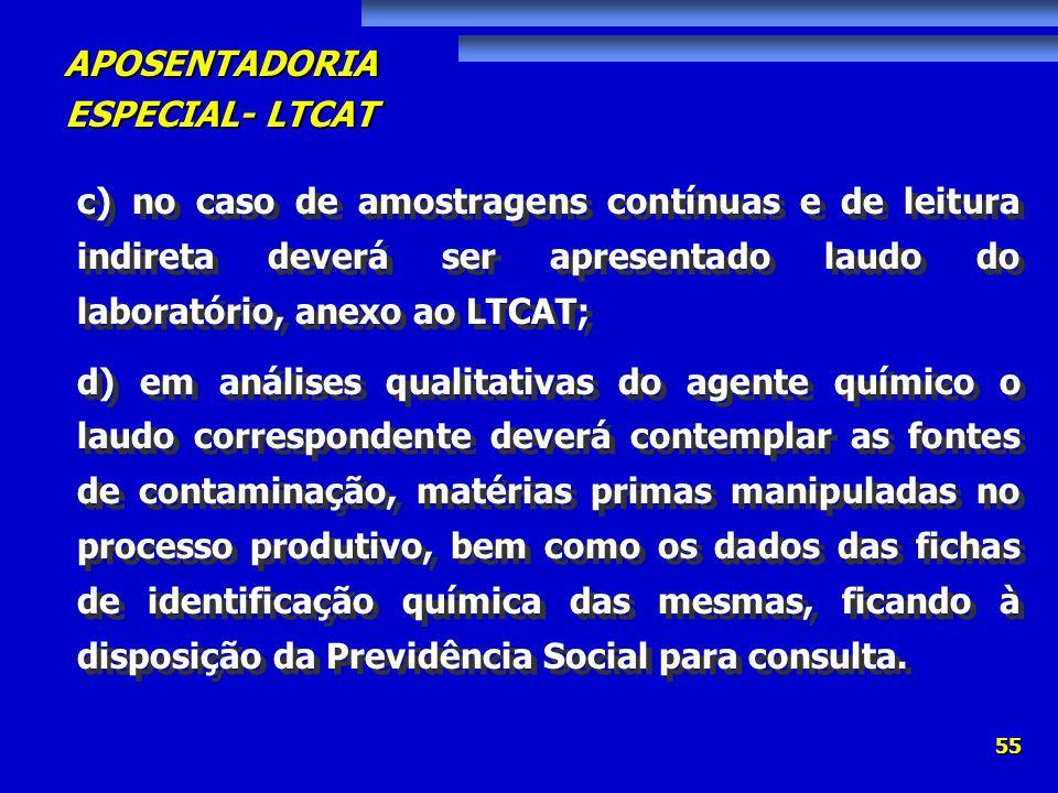 APOSENTADORIA ESPECIAL- LTCAT 55 c) no caso de amostragens contínuas e de leitura indireta deverá ser apresentado laudo do laboratório, anexo ao LTCAT