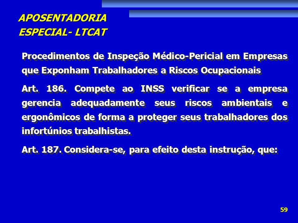 APOSENTADORIA ESPECIAL- LTCAT 59 Procedimentos de Inspeção Médico-Pericial em Empresas que Exponham Trabalhadores a Riscos Ocupacionais Art. 186. Comp