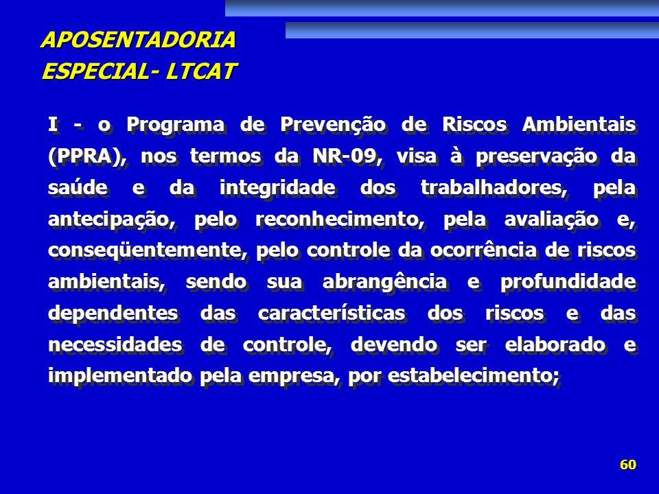 APOSENTADORIA ESPECIAL- LTCAT 60 I - o Programa de Prevenção de Riscos Ambientais (PPRA), nos termos da NR-09, visa à preservação da saúde e da integr