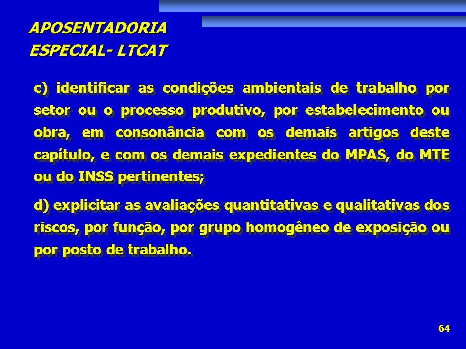 APOSENTADORIA ESPECIAL- LTCAT 64 c) identificar as condições ambientais de trabalho por setor ou o processo produtivo, por estabelecimento ou obra, em