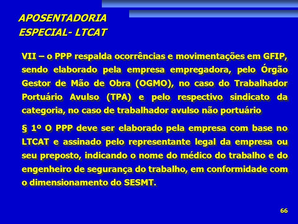 APOSENTADORIA ESPECIAL- LTCAT 66 VII – o PPP respalda ocorrências e movimentações em GFIP, sendo elaborado pela empresa empregadora, pelo Órgão Gestor
