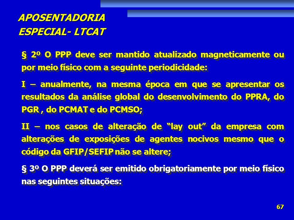 APOSENTADORIA ESPECIAL- LTCAT 67 § 2º O PPP deve ser mantido atualizado magneticamente ou por meio físico com a seguinte periodicidade: I – anualmente
