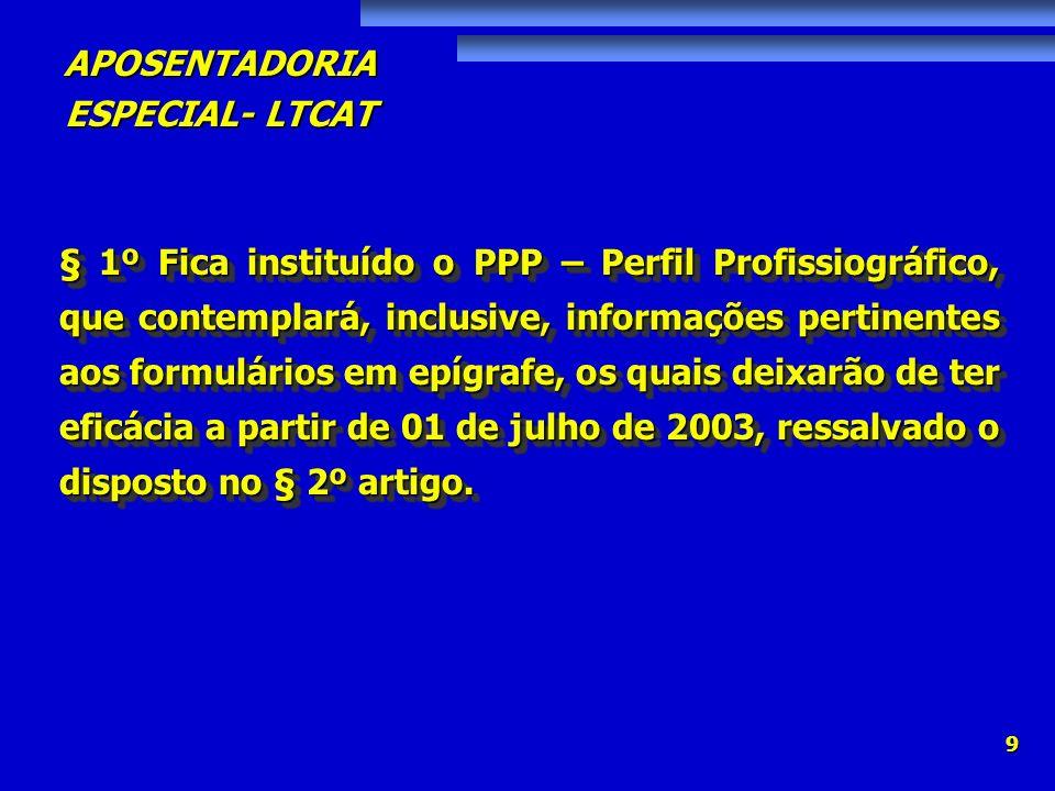 APOSENTADORIA ESPECIAL- LTCAT 30 Art.159.