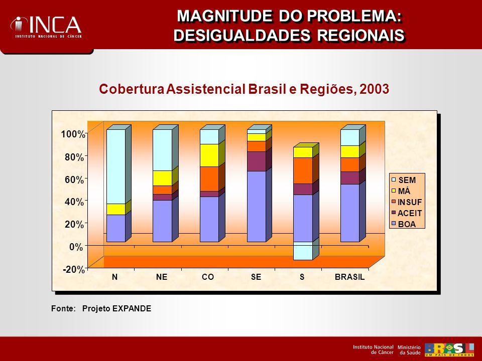 MAGNITUDE DO PROBLEMA: AÇÃO COORDENADA NA REDE DE SERVIÇOS Distribuição dos dez tumores primários mais freqüentes, segundo estadiamento clínico – INCA – 2000 a 2001 Fonte: Registro Hospitalar de Câncer, Hospital do Câncer – Unidade I, II e III /INCA/MS.