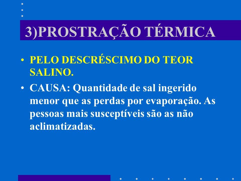 3)PROSTRAÇÃO TÉRMICA PELO DESCRÉSCIMO DO TEOR SALINO. CAUSA: Quantidade de sal ingerido menor que as perdas por evaporação. As pessoas mais susceptíve