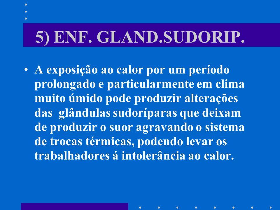 5) ENF. GLAND.SUDORIP. A exposição ao calor por um período prolongado e particularmente em clima muito úmido pode produzir alterações das glândulas su
