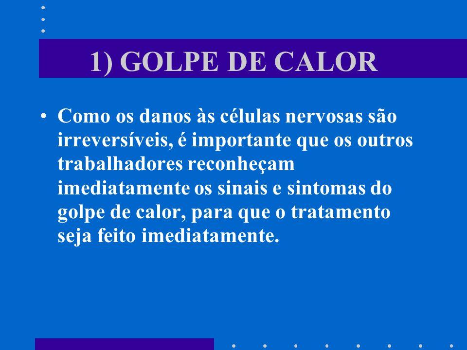 1) GOLPE DE CALOR Como os danos às células nervosas são irreversíveis, é importante que os outros trabalhadores reconheçam imediatamente os sinais e s