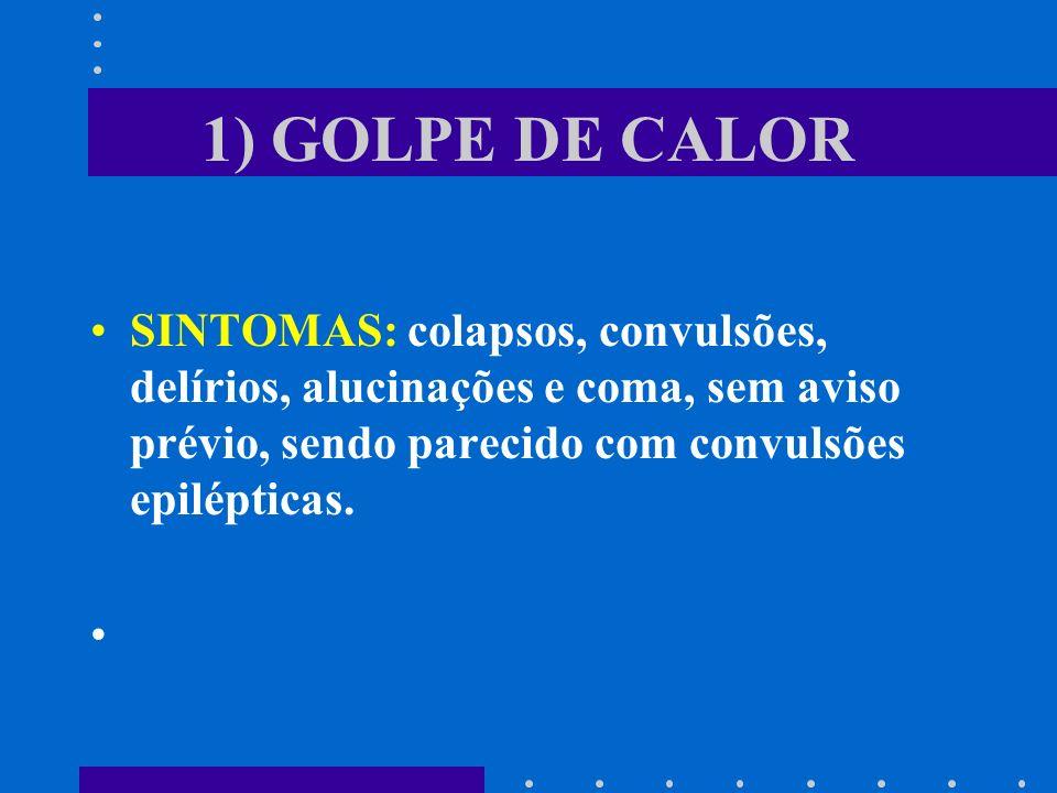1) GOLPE DE CALOR SINTOMAS: colapsos, convulsões, delírios, alucinações e coma, sem aviso prévio, sendo parecido com convulsões epilépticas.