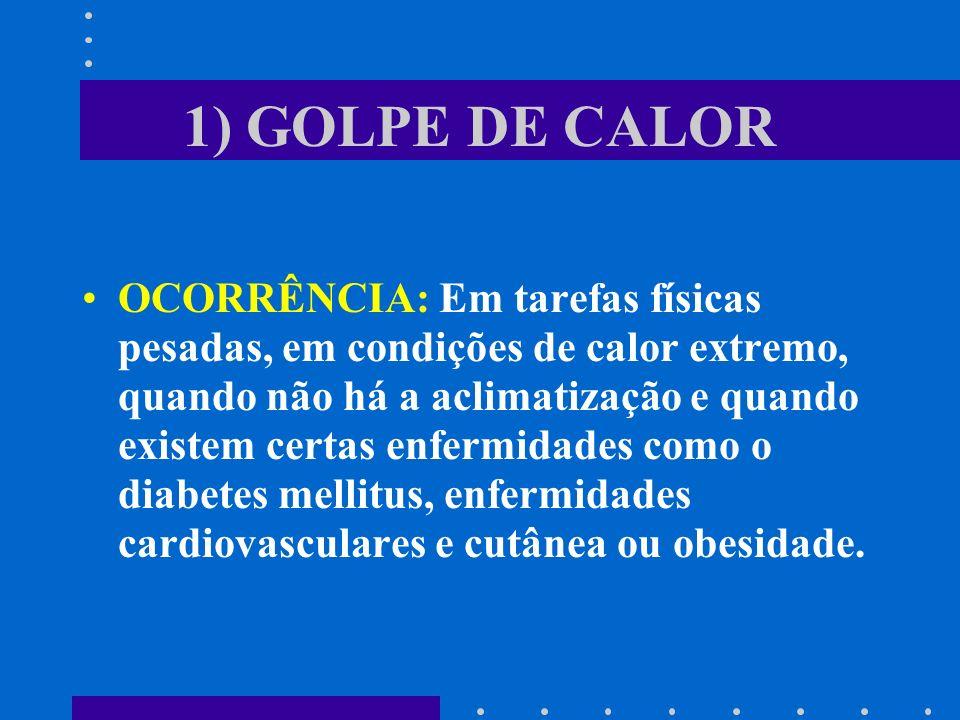 1) GOLPE DE CALOR OCORRÊNCIA: Em tarefas físicas pesadas, em condições de calor extremo, quando não há a aclimatização e quando existem certas enfermi