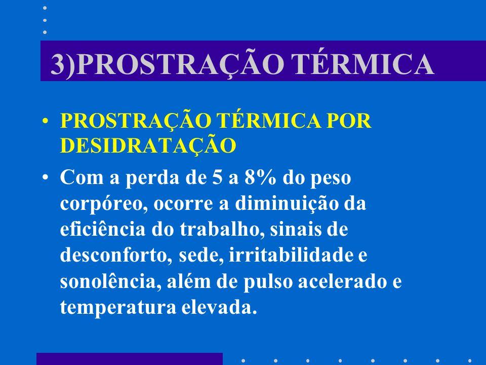 3)PROSTRAÇÃO TÉRMICA PROSTRAÇÃO TÉRMICA POR DESIDRATAÇÃO Com a perda de 5 a 8% do peso corpóreo, ocorre a diminuição da eficiência do trabalho, sinais
