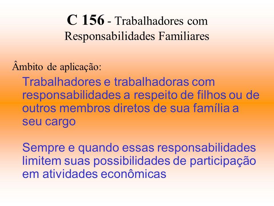 C 156 - Trabalhadores com Responsabilidades Familiares Âmbito de aplicação: Trabalhadores e trabalhadoras com responsabilidades a respeito de filhos o